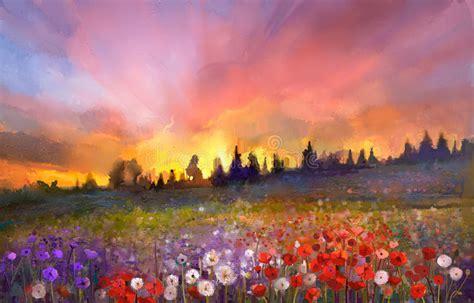 oil painting poppy dandelion daisy flowers  fields