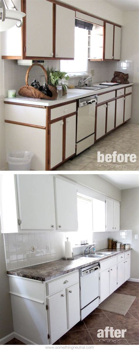 Painting Laminate Kitchen Cabinets Before And After by Kitchen Before After Diy Neutral White