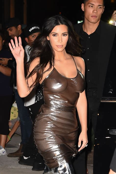 Kim Kardashian in See Through Dress in NYC September 2016   POPSUGAR Celebrity Australia