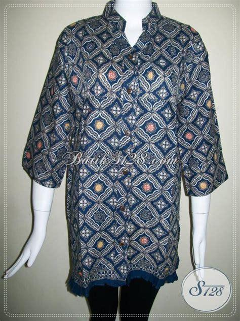 Blus Batik Biru Xl baju batik wanita elegan baju batik wanita kombinasi tulis blus batik wanita warna biru dongker