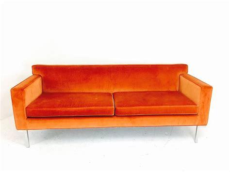 orange velvet theatre sofa by ted boerner for sale at 1stdibs