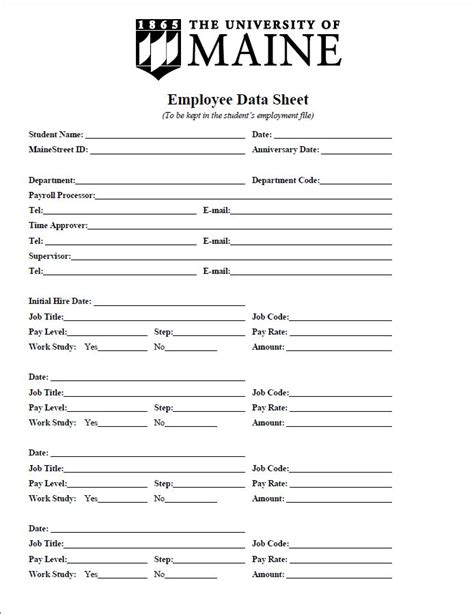 Employees Information Sheet Student Employee Information Sheet Sle Student