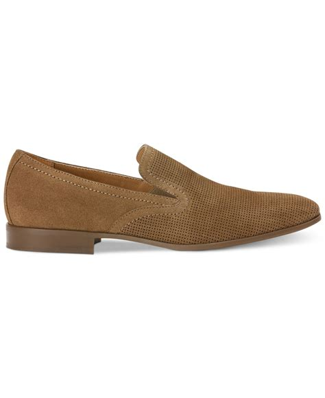 klein loafers lyst calvin klein channing perforated loafers in brown