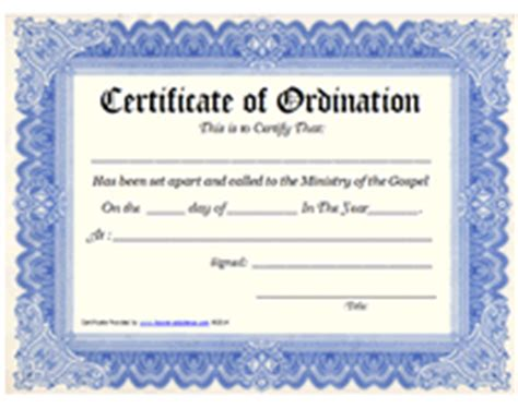search results for certificate for pastors ordination