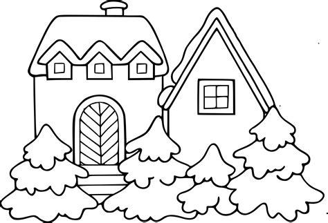 easy gingerbread house coloring pages coloriage paysage de neige 224 imprimer