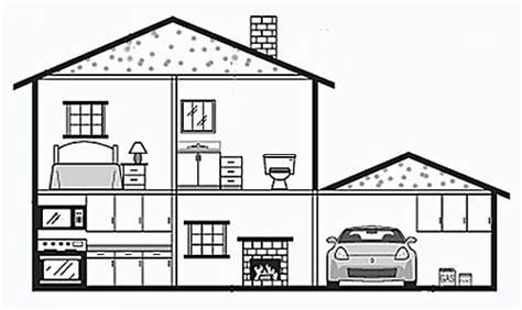 drawing of a house with garage inside a house draw paint objects pinterest
