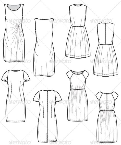 illustrator template artist sketch cards fashion flat sketches for day dress collection by