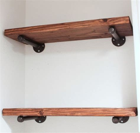 Suspended Shelf by Floating Shelf 10 Quot Depth Industrial With Pipe Brackets
