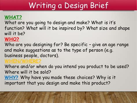 design brief for a new product design brief and spec