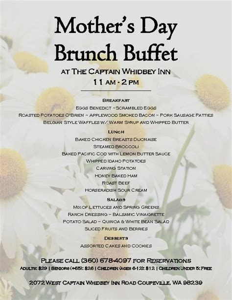 Mother S Day Brunch Buffet Menu Pdfsr Com Menu For Brunch Buffet