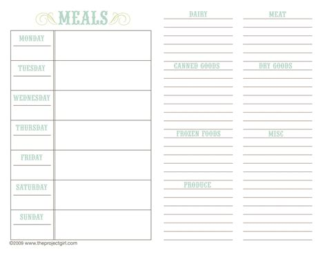 food planning template photo free weekly menu templates images