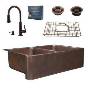 valence rustic kitchen faucet in copper brass farmhouse sinkology pfister all in one 33 in rockwell copper