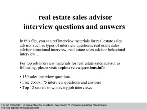 real estate sales advisor questions and answers