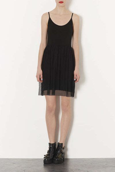 Topshop Black Mini Dress topshop tulle strappy mini dress in black lyst