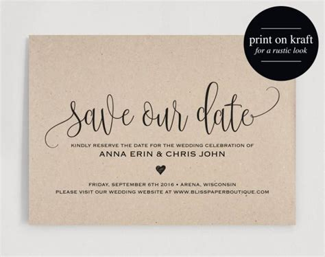 Save The Date Template Save The Date Card Save The Date Printable Wedding Printable Rustic Save The Date Cards Templates