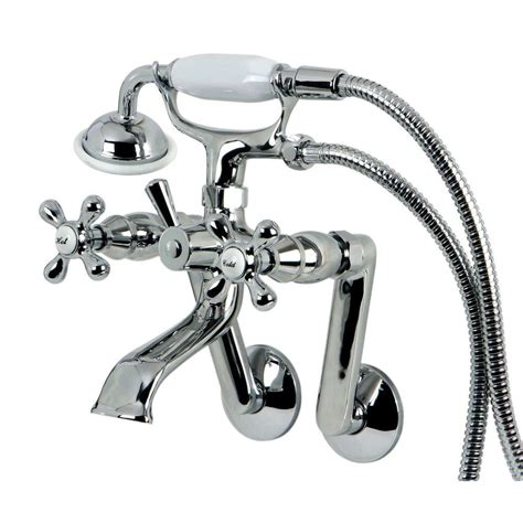 3 Handle Tub Faucet by Kingston Brass 3 Handle Tub Wall Claw Foot Tub Faucet With Shower In Chrome