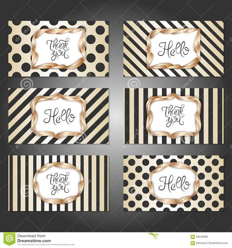 Set Of 6 Vintage Card Templates In Gold Black And White Colors Stock Vector Image 69046989 Vintage Card Templates