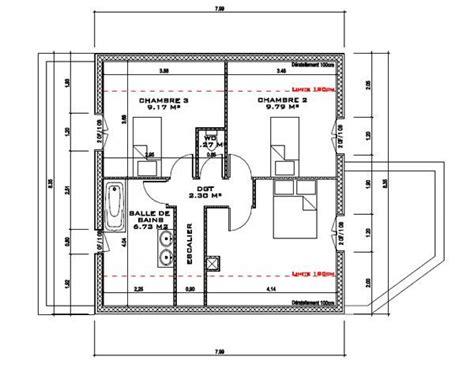 plan maison à étage 3 chambres plan maison 3 chambres etage maison quart tournant