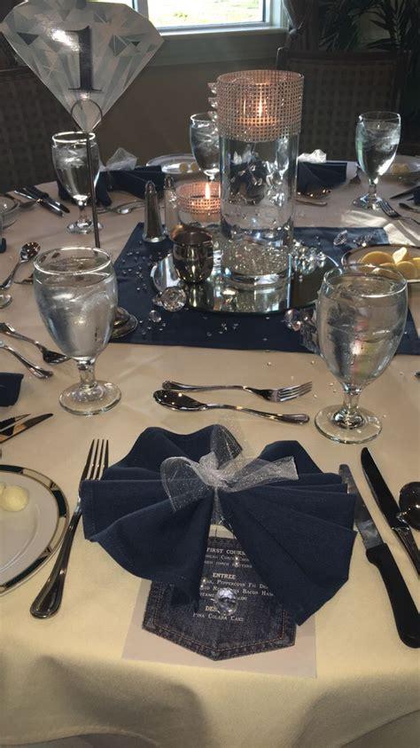picture of rustic denim table setting for a boy baby shower 17 migliori idee su denim and diamonds su pinterest