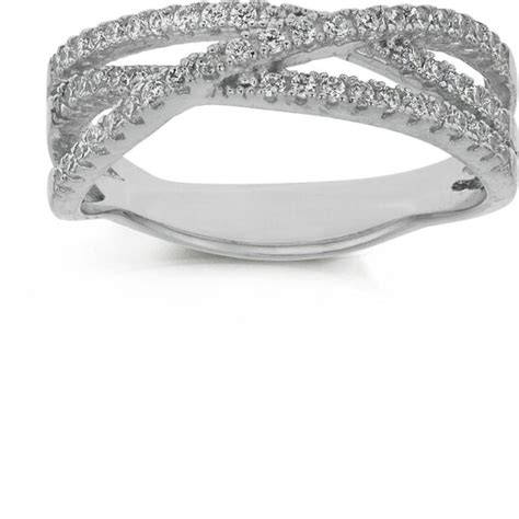 buy sterling silver cz crossover eternity ring size o at