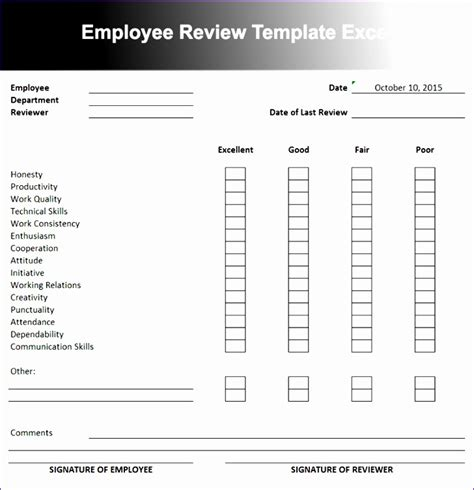 employee performance evaluation office templates