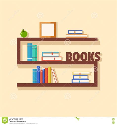 collection of paper books wooden bookshelf vector flat