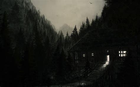 wallpaper dark house dark house forest rain birds sky painting wallpaper at