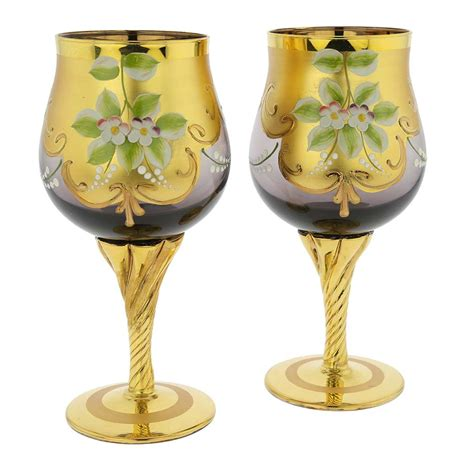 barware glasses murano glass wine glasses gold wine goblets