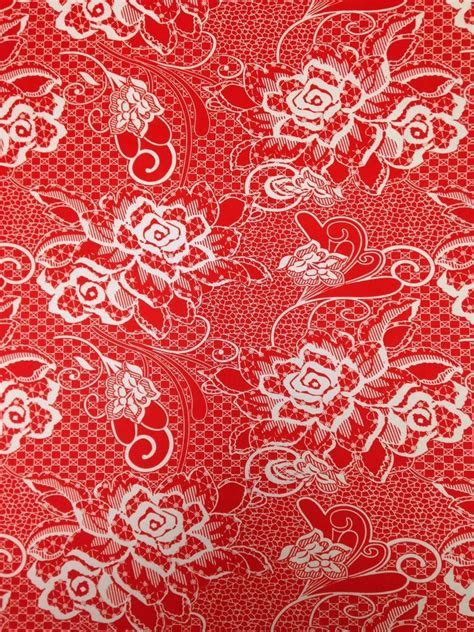pattern jersey fabric red white floral paisley pattern stretch knit jersey