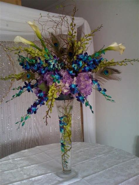 peacock centerpiece ideas blue and green centerpieces centerpiece vases with floating candles for wedding glass vases for