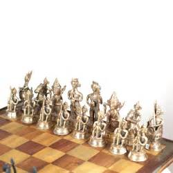 Metal Chess Set Midcentury Indian Chess Set With Solid Brass Chess Pieces