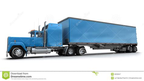 blue trailer lateral view of a big blue trailer truck stock