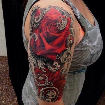 tattoo black and grey and red red roses on black grey tattoos pinterest beautiful
