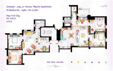 apartment floorplan from friends to frasier 13 tv shows rendered in plan archdaily