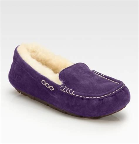 ugg moccasin slippers sale ugg australia ansley suede moccasin slippers in purple lyst