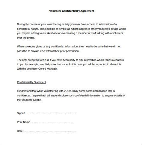 privacy contract template 32 word confidentiality agreement templates free
