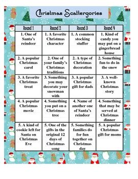 free christmas scattergories holiday game by flip charts