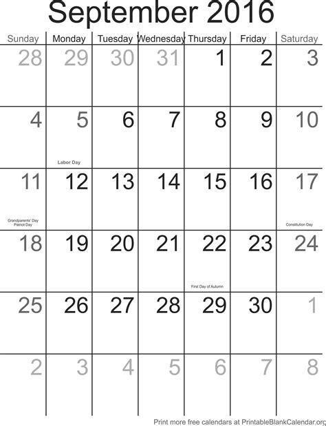 Calendar Printable With Holidays 2016 September 2016 Calendar With Holidays Printable Blank