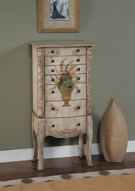 hand painted jewelry armoire powell masterpiece aged white hand painted jewelry armoire