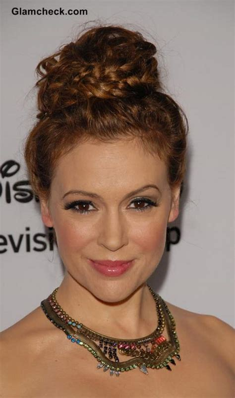the cruddie haircut top knot hairstyle braids alyssa milano s sexy braided