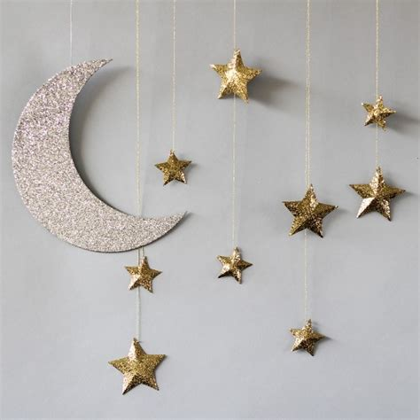 hanging moon and baby shower decorations