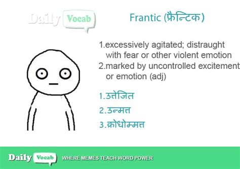 frantic meaning  hindi