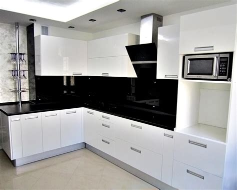 Glossy Cabinets by Modern Open Kitchen Design With White Glossy Cabinet And