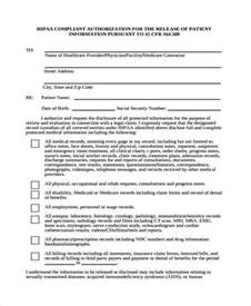hipaa compliant release of information template patient release form template