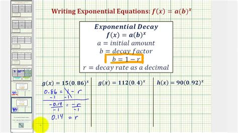 ex find the initial value and exponential growth or decay
