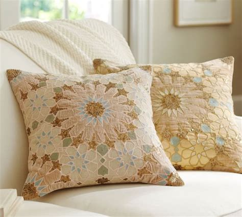 pottery barn bed pillows sofia tile sequined embroidered pillow cover pottery barn