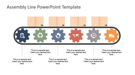 assembly template six steps process assembly line metaphor for powerpoint