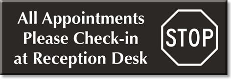check in desk sign reception signs