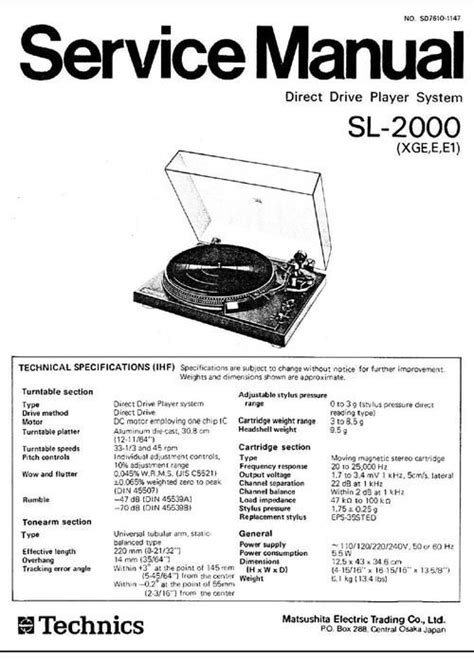 Technics Sl 2000 Turntable Service Manual In 2019