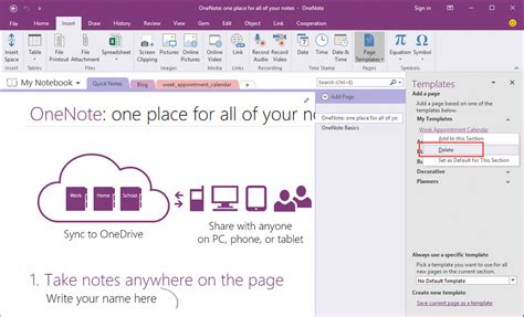 onenote page templates how to delete customize template in onenote office